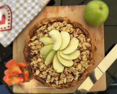 Tarte aux pommes et son croustillant aux amandes caramélisées au companion thermomix ou sans robot