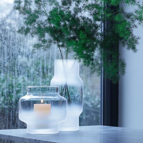 mist vase verre fumé brouillard photophore givré centre table noel montagne - blog déco clem around the corner