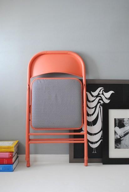 DIY chaise pliante orange blanche noire - blog déco - clem around the corner