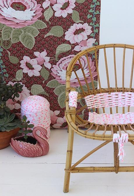 DIY chaise rotin tissage rose blanc - blog déco - clem around the corner