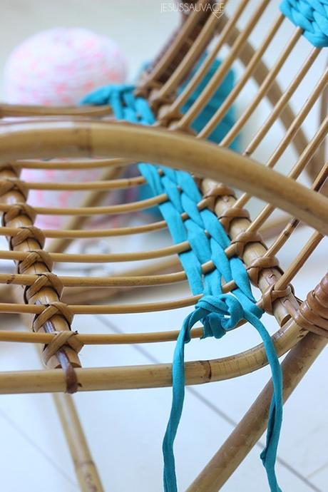 DIY chaise assise rotin bleu tissage - blog déco - clem around the corner