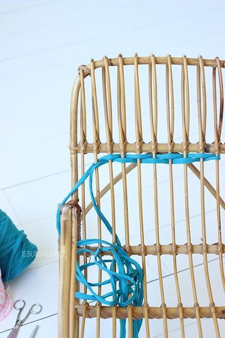 DIY chaise bobine bleu - blog déco - clem around the corner