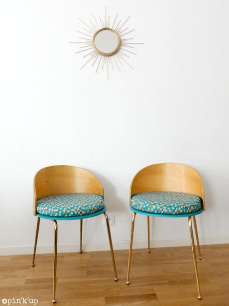 DIY chaise bois or bleu soleil ambiance estivale - blog déco - clem around the corner