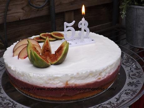 Entremet aux peches, figues et mousse au Skyr*   Gateau d'anniversaire IG Bas Et WW®* Fiberpasta*