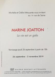 Galerie Berthet-Aittouarès  exposition Marine JOATTON  » La vie est un gala » 26/09 au 02/11/2019