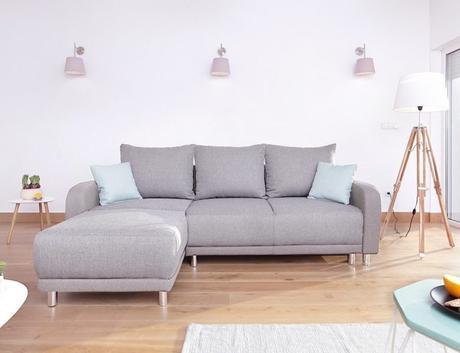 canapé angle méridienne confortable salon moderne pied métal loft