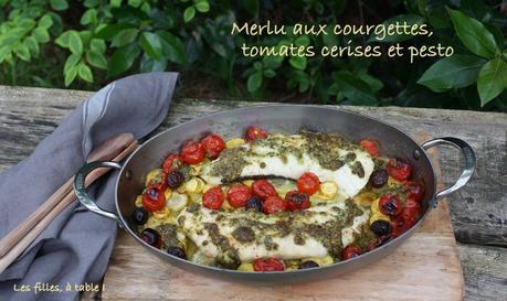 Merlu aux courgettes, tomates cerises et pesto
