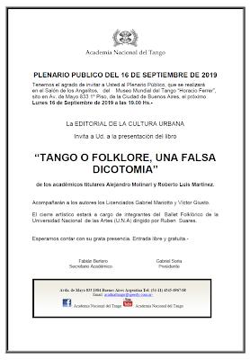 Un Plenario consacré au débat Tango versus Folklore à la Academia Nacional del Tango [à l'affiche]