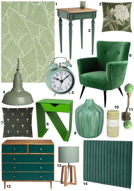 chambre rose et verte shopping liste vert - blog déco - clem around the corner