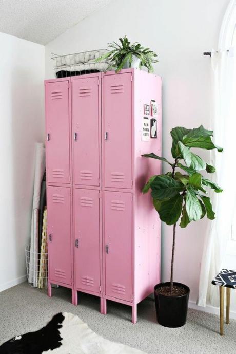 chambre rose et verte ado fille style industriel placard rose - blog déco - clem around the corner