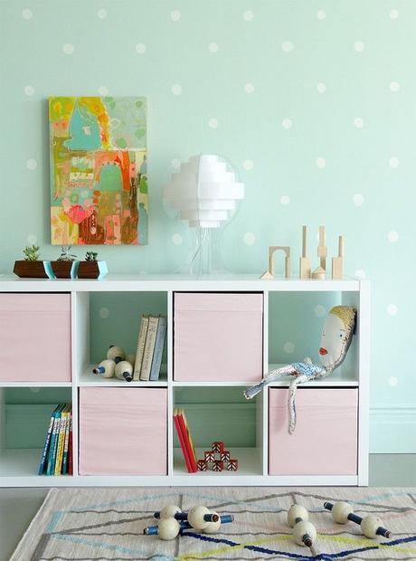 chambre rose et verte peinture vert menthe chambre bébé commode - blog déco - clem around the corner