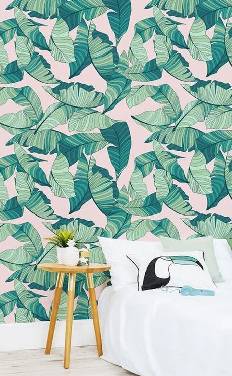 chambre rose et verte papier peint exotique idée originale - blog déco - clem around the corner