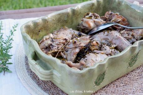 Lapin confit à l'huile d'olive et aux aromates