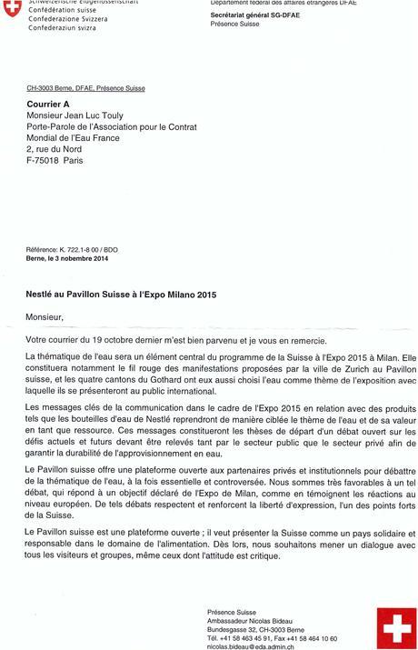 Réponse de l'ambassadeur de Présence suisse Nicolas Bideau ...