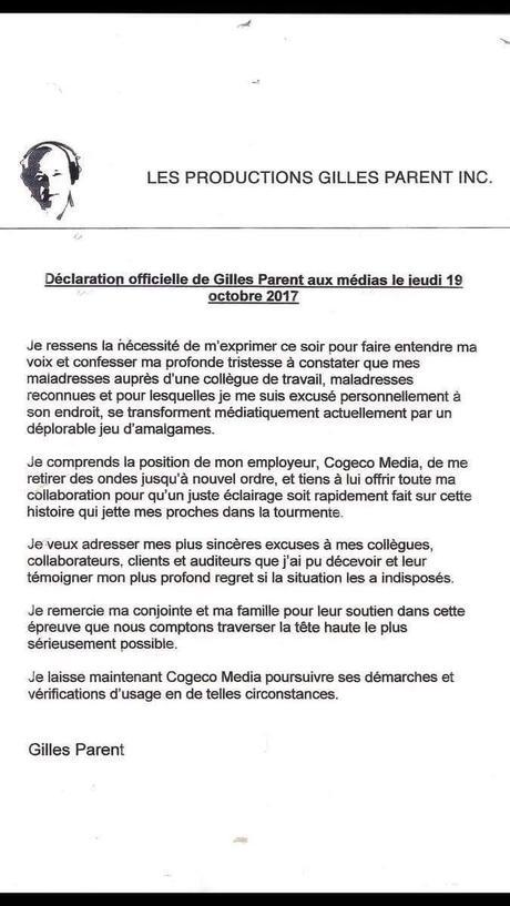 Déclaration officielle de Gilles Parent – Radio Monde et cie