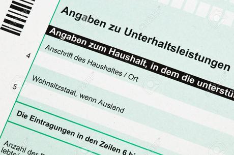 Formulaire de déclaration officielle allemande de pension alimentaire