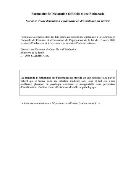 Formulaire de Déclaration Officielle d`une Euthanasie Sur base d