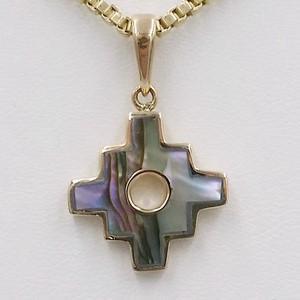 croix chakana or et nacre abalone