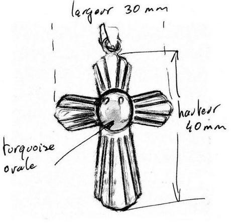 croquis d'un pendentif croix personnalisé avec pierre de turquoise