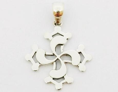 pendentif deux croix occitane et basque en argent