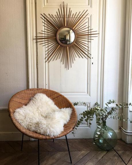 miroir soleil chaty vallauris laiton or parquet eucalyptus décoration - blog déco - clem around the corner
