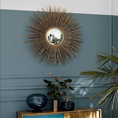 miroir soleil chaty vallauris laiton or mur bleu vert - blog déco - clem around the corner
