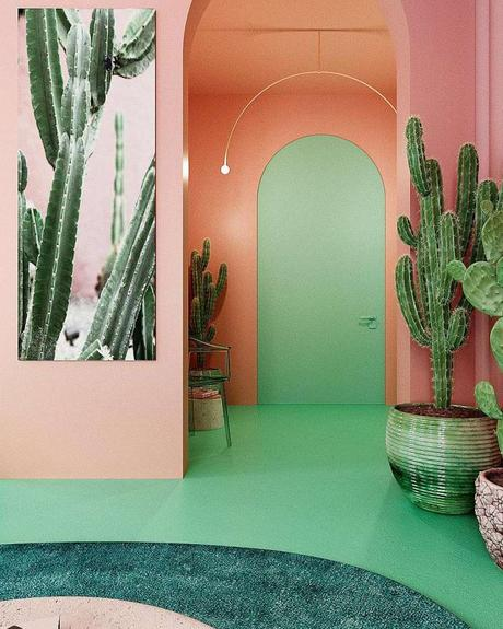 Un appartement à la déco verte et rose originale au coeur de Manhattan
