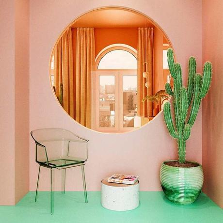 déco verte et rose sas entrée salon cactus design miroir rond décoration - blog déco - clem around the corner
