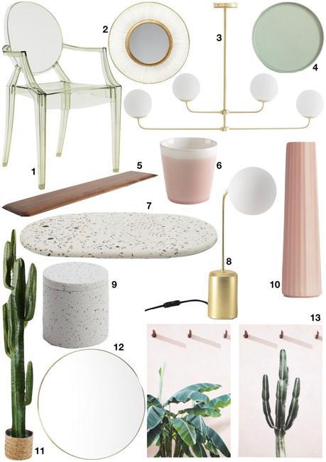 déco verte et rose shopping liste inspiration appartement manhattan - blog déco - clem around the corner