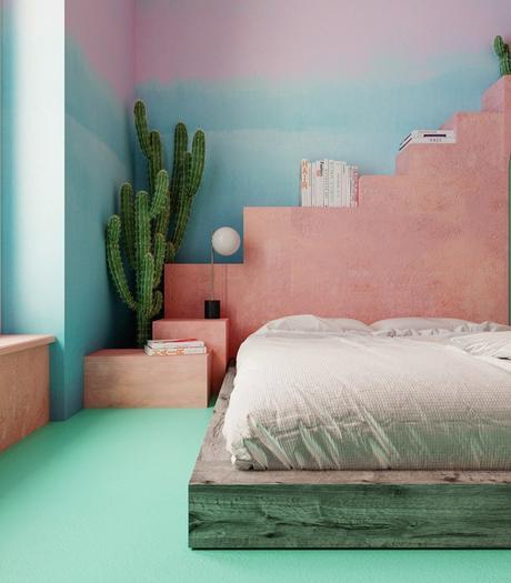 chambre original estivale style mexique californie cactus rose blush bleu vert turquoise