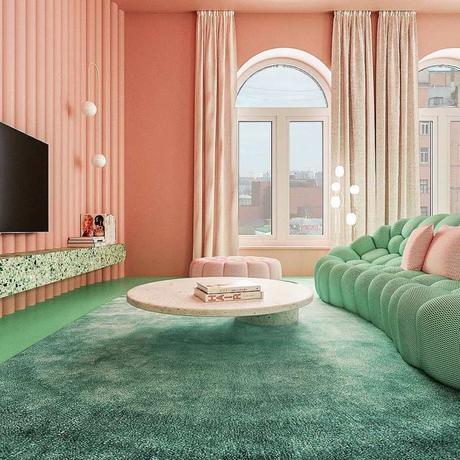 déco verte et rose canapé original design table basse ronde marbre tapis turquoise télévision mur rondin - blog déco - clem around the corner