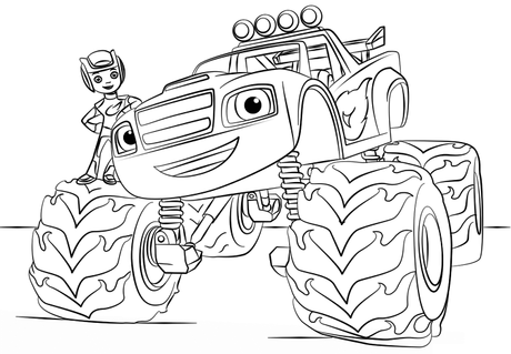 Coloriages Blaze et les Monster machines (avec AJ, Crusher, …)