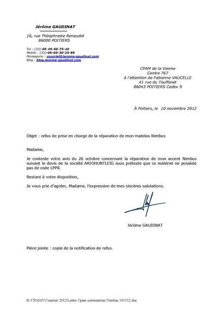 lettre contestation refus indemnites journalieres