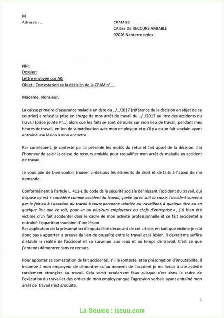 Agréable Exemple De Lettre Pour Contester Un Refus D ...