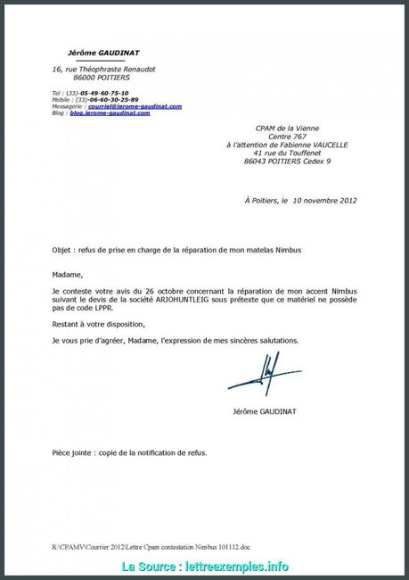 Avancée Exemple De Lettre Pour Contester Un Refus D'Accident ...