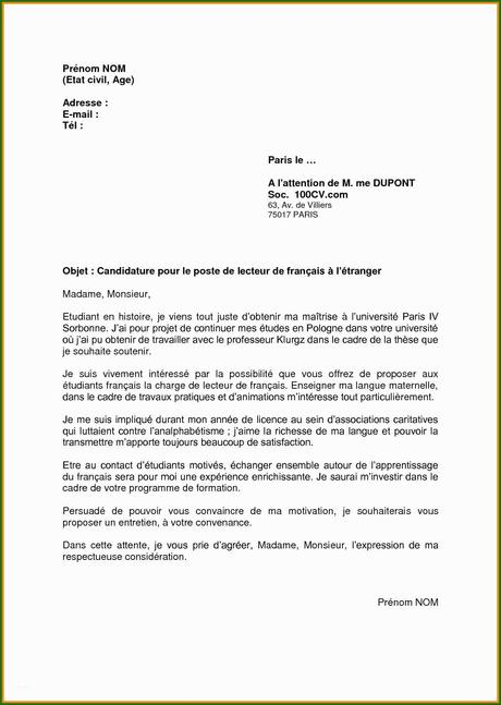 Exemple Lettre De Motivation Simple Et Efficace à Voir