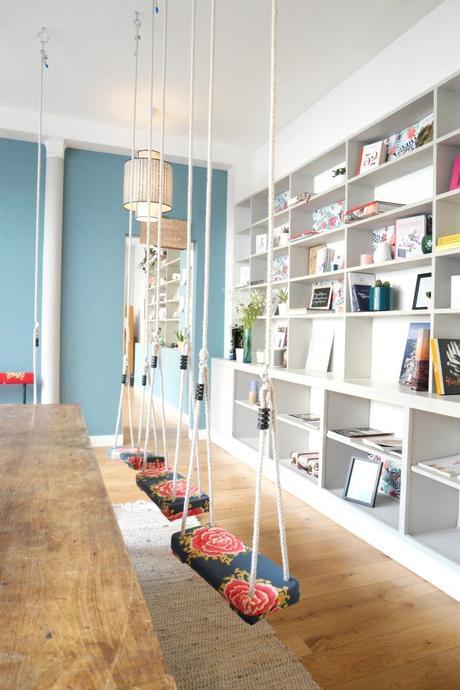balançoire intérieure chaise table suspendue salle à manger - blog déco - clem around the corner