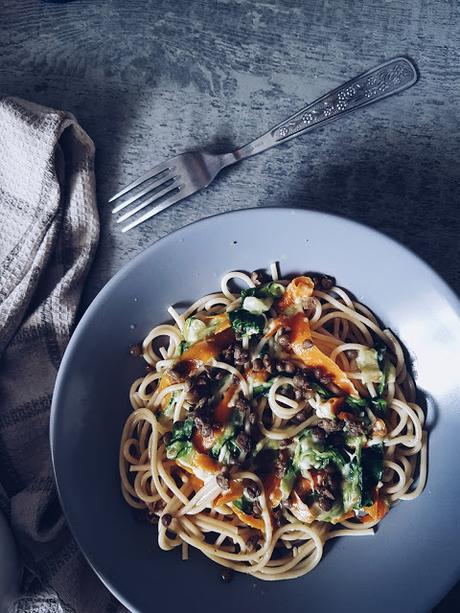[food] spaghettis aux courgettes, carottes et lentilles, transition parfaite entre été et automne