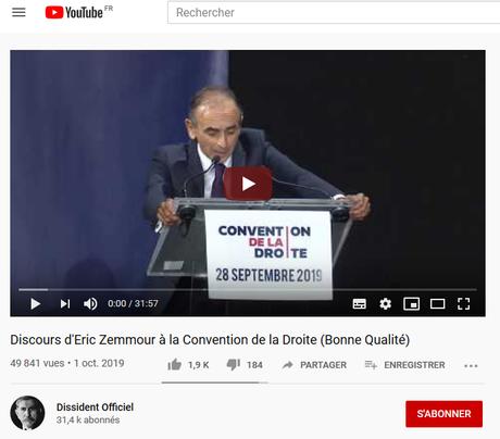#Désinformation : FDesouche annonce la censure de Zemmour par You Tube