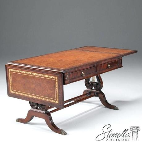 mahogany coffee table antique details about lyre base drop leaf mahogany coffee table w leather top new
