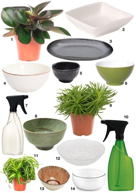 shopping liste décoration plantes accessoires bols vaporisateurs assiettes plats déco originale