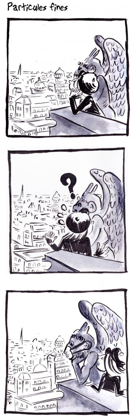 webzine,bd,gratuit,zébra,bande-dessinée,fanzine,strip,lola,aurélie dekeyser,paris,particules fines,pollution,gargouille,notre-dame,masque