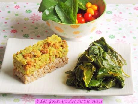 Purée de pois cassés aux lardons Vegan, poêlée de verdure et salade valériane et tomates