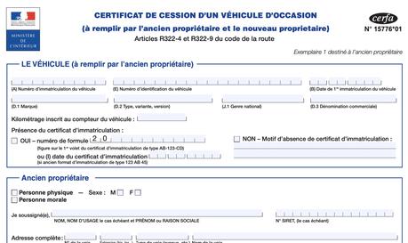 Cerfa de certificat de cession d'un véhicule d'occasion