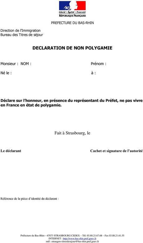 certificat de non polygamie pdf