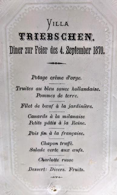 Villa Triebschen - Speisekarte / Menu  04. 09.1870.