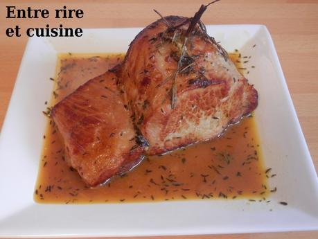 Rôti de porc caramélisé au miel et à l'orange