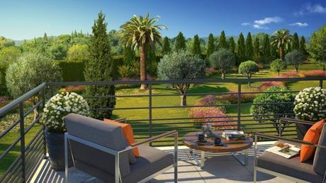 terrasse fauteuil design bois métal extérieur outdoor jardin type méditerranéen palmier olivier pin