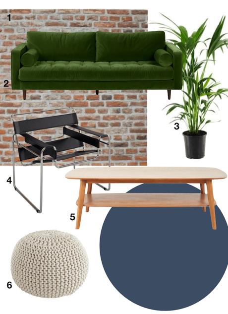 shopping liste canapé velours vert table basse bois rétro pouf tricot fauteuil cuir noir plante verte - blog déco - clemaroundthecorner