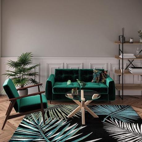 salon jungle canapé velours vert sapin foncé fauteuil bois - blog décoration clemaroundthecorner